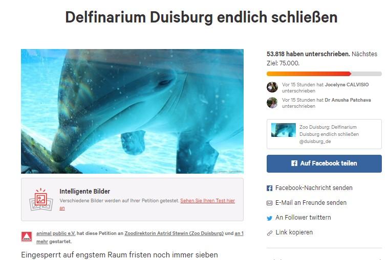 Über 55.000 Unterschriften für die Schließung des Duisburger Delfinariums